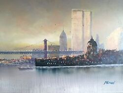 Lost Twin Towers Portrait: Obscure Classical and One of a Kind Original Canvas