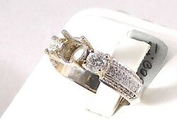 Ring Mounting W/ Genuine Diamonds Ready For Your Choice Of Center Stone