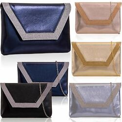 Metallic Flat Envelope Clutch PU Leather Women Diamante Evening Prom Bridal Bags