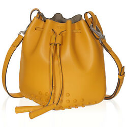 TOD'S Mini Secchiello Bucket Bag Designer $1425 Yellow NWT