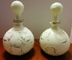 Pair Of Victorian Barber Bottles Decanters White Milk Glass Hand Painted
