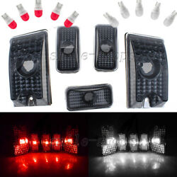 10x Smoke Roof Cab Marker Cover + T10 White Red Ceramic Bulb for 03-09 Hummer H2
