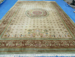 10' X 14' Vintage Hand Made Chinese Aubusson Wool Rug Decorative