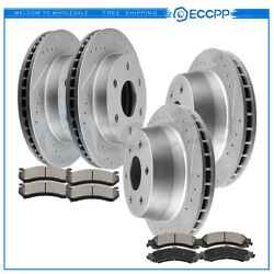 Ceramic Brake Pads And Rotors Front Rear For Chevy Suburban 1500 Ls Lt Z71 5.3l