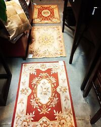 Three 4and039x6and039 Stunning Handmade French Needlepoint Aubusson Area Rugs 4x6