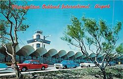 Postcard Metropolitan Oakland International Airport Pm 1964 Old Cars 1950and039s
