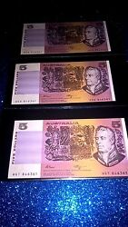5 Dollars X3 Same Numbers Running Prefix Letters Extremely Rare Unc