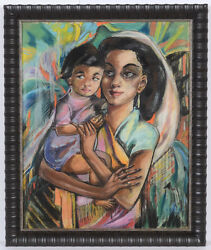 Hedi Schick 1906-1999 Mother And Child Pastel Ca. 1940