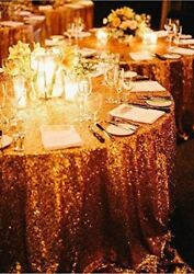 5 Pack 120 Round Sequin Sparkly Design Shiny Tablecloth Table Cover 4 Colors