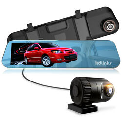 Kdlinks R100 1296p Front + 1080p Rear 280anddeg Rearview Mirror Car Dash Cam 1yr Wrty
