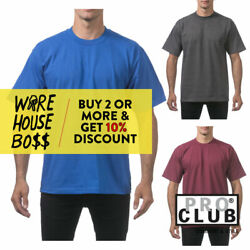PROCLUB PRO CLUB MENS PLAIN SHORT SLEEVE T SHIRT HEAVYWEIGHT CASUAL COTTON TEE $5.95