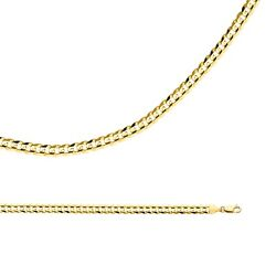 Cuban Chain Solid 14k Yellow Gold Necklace Curb Wide Links Heavy , 5.9 Mm