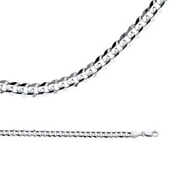 Cuban Necklace Solid 14k White Gold Chain Curb Link Heavy Style , 5.9 Mm