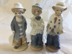 Clown Figurines Formalities By Baum Bros Set Of Three Hobo Musician porcelain