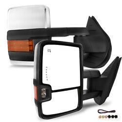 New Set Of 2 Chrome Amber Signal/backup Lamp Mirrors For Chevrolet/gmc 2009-2013