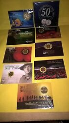 All 9 Coins Carded 50c Silver=2 Purplered-gold Poppyand039s Anzac 1-2 Etc.....
