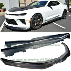 For 16-up Camaro Ss R Style Carbon Fiber Front Bumper Lip Spoiler + Side Skirts