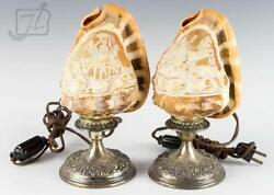 Kirk Repousse Sterling Carved Cameo Lamp Pair
