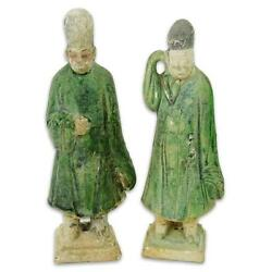 Two 2 Chinese Ming Dynasty Glazed Pottery Figures.