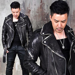 Newstylish Mens Tops Edge Zippered Double Collar Belted Leather Rider Jacket