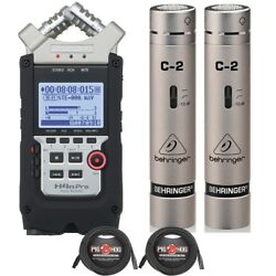 Zoom H4n Pro Recorder Bundle + Behringer C2 Condenser Mics Matched Pair + Cables