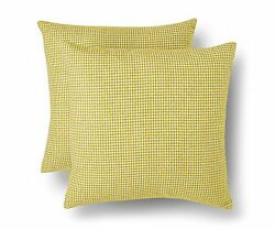 Threshold 2 Pack Yellow Decorative Houndstooth Toss Pillows 18quot; x 18quot; Set of 2