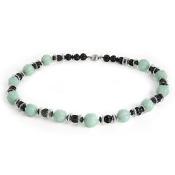 Vintage Art Deco Black Onyx And Green Italian Glass Sterling Silver Necklace