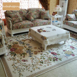 Victorian European Country Traditional Floral Floor Mat Area Rug Carpet Beige I