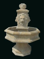 HAND CARVED MARBLE LION INDOOR - OUTDOOR FOUNTAIN FNT93
