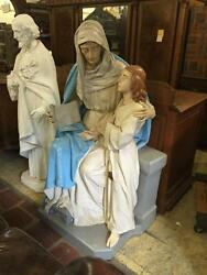 NICE LARGE RELIGIOUS CHURCH SIGNED DAPRATO SAINT ANNE & MARY STATUE - 15NY015