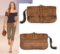 CELINE BAG BULLET DETAIL WRISTLET CLUTCH VINTAGE LOGO NATURAL BROWN LEATHER
