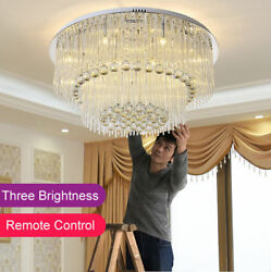 LED Remote Control Crystal Ceiling Light Pendant Lamp Chandeliers With LED Bulbs