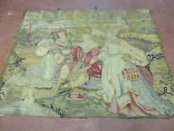 3' X 4' Antique Tapestry French Hand Made Aubusson Weave Nature One Of A Kind