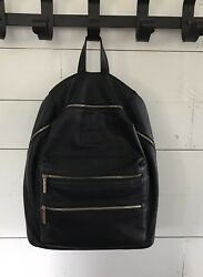Honest Company Black Gold Vegan Leather City Backpack Diaper bag EUC