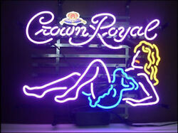 New Crown Royal Girl Whiskey Beer Neon Light Sign 20x16