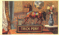 Trick Pony Mechanical Toy Savings Bank Original Currier And Ives Trade Card
