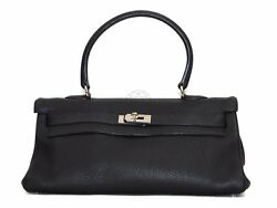 Hermes Shoulder Kelly Black Clemence PHW Very Good Condition!