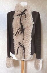 Dolce & Gabbana  BROWN SUEDE SHEARLING TIE JACKET  Size 46 UK 10 & Suit Carrier