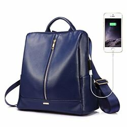Backpack for Women Purse Satchel with USB Charging Casual School Bag Blue