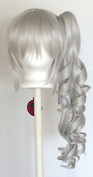 23'' Curly Pony Tail + Base Silver Gray Cosplay Wig NEW