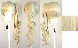 23'' Curly Pony Tail + Base Flaxen Blonde Cosplay Wig NEW