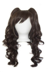23'' Curly Pig Tails + Base Chocolate Brown Cosplay Wig NEW