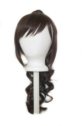 23'' Curly Pony Tail + Base Chocolate Brown Cosplay Wig NEW