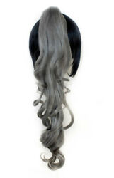 23'' Curly Pony Tail Clip Slate Gray Cosplay Wig NEW