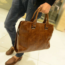 Men#x27;s Leather Shoulder Messenger Bags Business Work Bag Laptop Briefcase Handbag $32.99