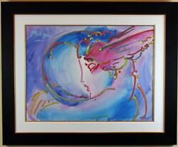 I LOVE THE WORLD by PETER MAX ORIGINAL ACRYLIC ON CANVAS PAINTING RETAIL $70000