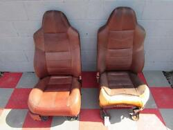 08-10 Ford F450 Sd King Ranch Pair Front Leather Seats Damaged Seat Cover