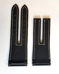 HD3 Three Minds Black Crocodile Leather Straps with White Stitches
