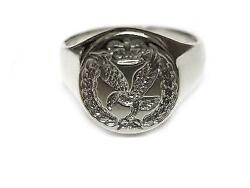 New Sterling Silver ARMY AIR CORPS AAC Cap Badge design Seal Style Signet Ring.