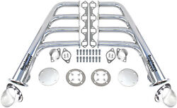 New Lake Style Chrome Plated Headers W/ Ceramic Turnouts,sbf 260-351w V-8,gt40p